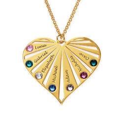 Family Necklace with birthstones in Gold Plating product photo