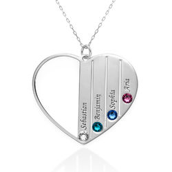 Mum Birthstone Necklace in White Gold 10ct product photo