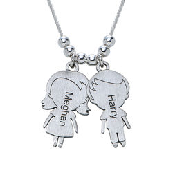 Mum Necklace with Children Charms in Sterling Silver Sterling product photo