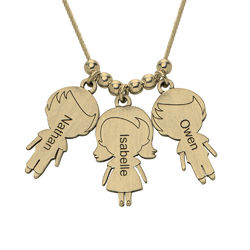 Mum Necklace with Children Charms in Gold Plating product photo