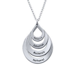 Engraved Family Necklace - Four Drops product photo