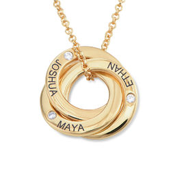 Russian Ring Necklace in Silver Gold Plated with Cubic Zirconia Stones product photo