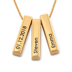 Short 3D Necklace Bar in Gold Plating product photo