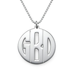 Personalised Silver Print Initials Necklace product photo