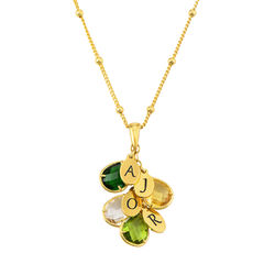 Custom Birthstone Drop Necklace for Mum in 18ct Gold Vermeil product photo