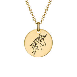 Unicorn Pendant Necklace in Gold Plating product photo