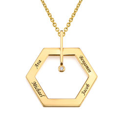 Personalised Engraved Hexagon Necklace in Gold Plating with Diamond product photo