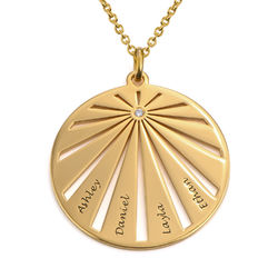 Engraved Circle Family Necklace with Diamond in Gold Plating product photo