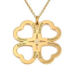 Four Leaf Clover Heart Necklace with Diamonds in Gold Plating product photo