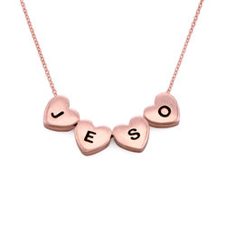 Initial Hearts Stackable Necklace in Rose Gold Plating product photo