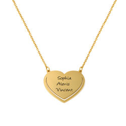 Personalised Heart Necklace with Clear Crystal Stones chain in Gold Plating product photo