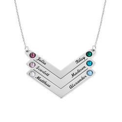 Swarovski Personalised Family Necklace in Sterling Silver product photo