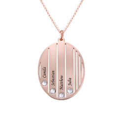 Engraved Family Necklace with Swarovski Stones in Rose Gold Plating product photo