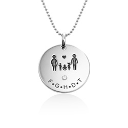 Family Necklace for Mum in Sterling Silver with Diamond product photo