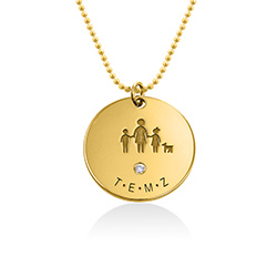 Family Necklace for Mum in 18ct Gold Plated with Diamond product photo