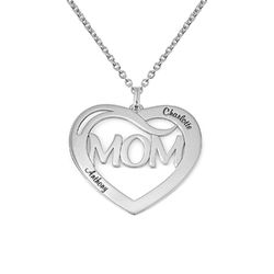 Mum Heart Necklace with Kids Names in Sterling Silver product photo