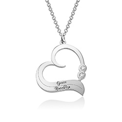 Personalised Heart Necklace in Sterling Silver with Diamond product photo
