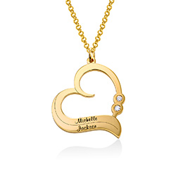 Personalised Heart Necklace in 18ct Gold Plated with Diamond product photo