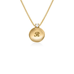 Small Circle Initial Necklace with Diamond in Gold Plated product photo