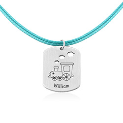 Train Personalised Dog Tag in Sterling Silver product photo