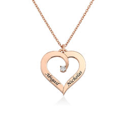 Fine Diamond Custom Heart Necklace in Rose Gold Plating product photo