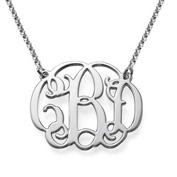 Sterling Silver Celebrity Style Monogram Necklace product photo