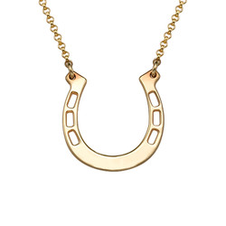 Horseshoe Necklace Engraved in 18ct Gold product photo