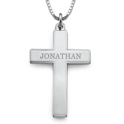 Men's Engraved Cross Necklace in Sterling Silver product photo