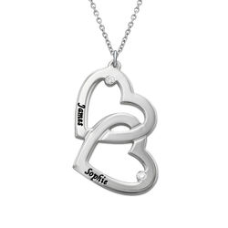 Heart in Heart Necklace in Silver with Diamonds product photo
