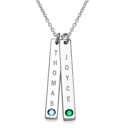 Vertical Sterling Silver Bar Necklace with Birthstones product photo