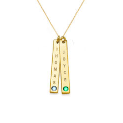 Swarovski Vertical Bar Necklace For Mothers in 18ct Gold Vermeil product photo