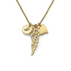 Gold Plated Angel Wing Necklace with Initial Pendant product photo
