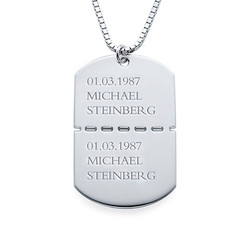 Personalised Sterling Silver Dog Tag Necklace for Men product photo