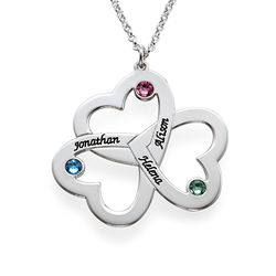 Personalised Triple Heart Necklace in Sterling Silver product photo