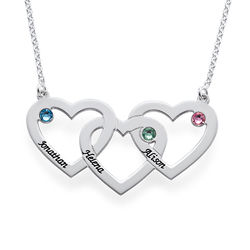 Intertwined Hearts Necklace with Birthstones product photo