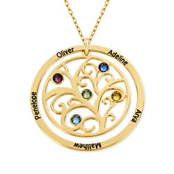 Family Tree Birthstone Necklace - 10ct Yellow Gold product photo