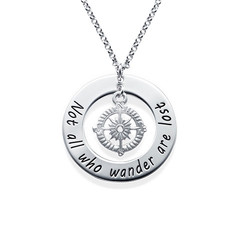 Compass Necklace with Engraved Disc product photo