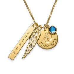 Personalised Mum Charm Necklace with Gold Plating product photo