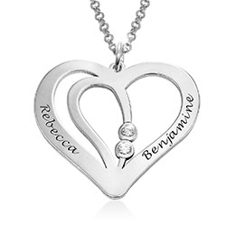 Engraved Couples Necklace in Sterling Silver with Diamond product photo