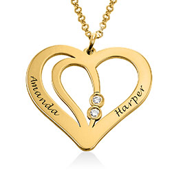 Engraved Couples Necklace in 18ct Gold Plated with Diamond product photo