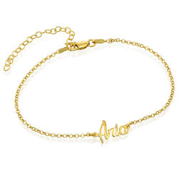 Ankle Bracelet with name in Gold Plating product photo