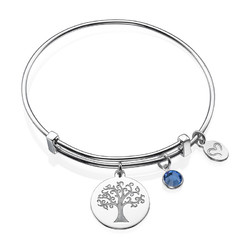 Bangle Bracelet with a Family Tree Charm product photo