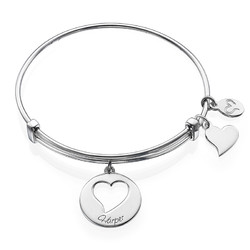 Heart Charm Bangle Bracelet product photo