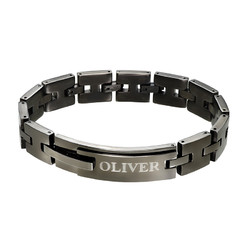 Black Stainless Steel Man Bracelet with Engraving product photo