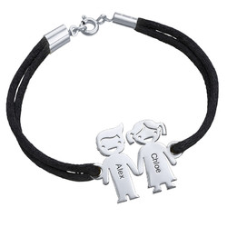 Sterling Silver Kids Holding Hands Bracelet product photo