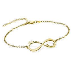 Infinity Bracelet with Names - 18ct Gold Plated product photo