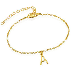 Ankle Bracelet with Initial in Gold Plating product photo