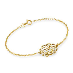 18ct Gold Plated Sterling Silver Monogram Bracelet / Anklet product photo