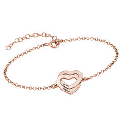 Diamond Interlocking Adjustable Hearts Bracelet in Rose Gold Plated product photo