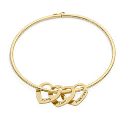 Bangle Bracelet with Heart Shape Pendants in Gold Plating product photo